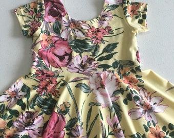3T Twirly Dress // Pastel Yellow Wildflower