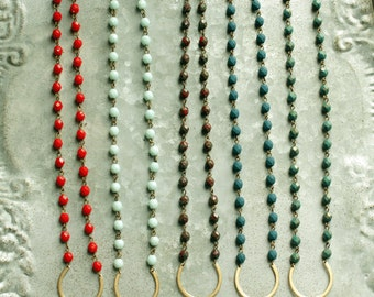 Long Beaded  Tassel Necklace, Long Bead Necklace with Tassel, Choose A Color