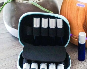 Essential Oil Carrying Case - Perfect for Roller Bottles 5ml - 10ml - Hard Shell Exterior and Foam Pad to keep your oils safe