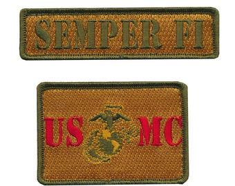Tactical usmc marine corps embroidered patch set