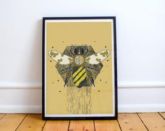 Manchester Bee art / illustration (Print / Poster)