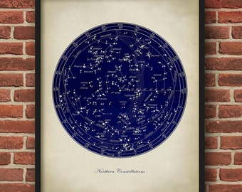 Northern Constellations chart print, stars chart, star print, astronomy room decor, astronomy poster, celestial wall art,  dorm wall decor