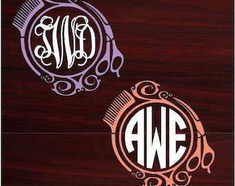 Shears and Comb Monogram Decal, Hairdresser, Cosmetology