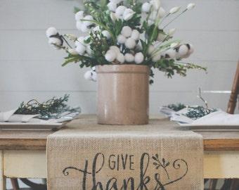 Give Thanks Burlap Table Runner, Table Runner, Thanksgiving Table Runner* Free Shipping*