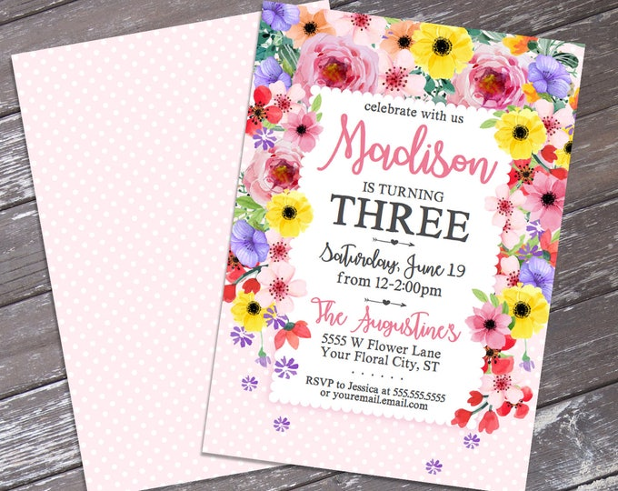 Flowers Party Invitation - Spring Flowers Invitation, Spring, Garden Birthday, Garden Party | DIY Editable Text INSTANT DOWNLOAD Printable
