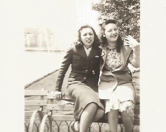 "Vintage Snapshot Photo ""Friends For Life"" Teenage Girls Balance On Park Bench Found Vernacular Photo"