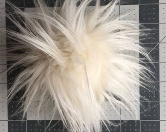 Crazy-Hair Cream Faux Fur Pom Pom