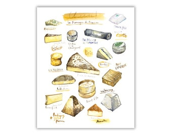 Cheese varieties, Kitchen art print, Watercolor gift for cheese lover, French cheese poster, Types of cheese print, Kitchen decor, Food art