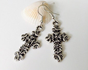 Vintage Flower Cross Earrings.