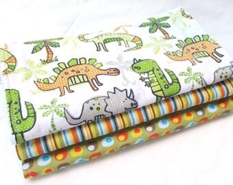 Baby Boy Burp Cloth Gift Set - Land of Dinosaurs - Dinos - 3 coordinating burp pads in designer cotton fabrics