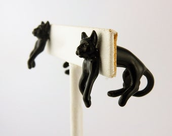 Vintage Hand painted Black 3D Kitty Cat EARlusion earrings