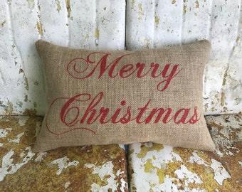 Merry Christmas Pillow Burlap Script MERRY CHRISTMAS custom colors for CHRISTMAS Fun Painted Burlap Throw Accent Pillow Home Decor