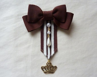 Royal Stripe Bow Brooch Pin