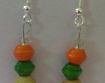 Wooden orange , green , cream  and braun beads