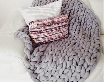 SALE Chunky blanket av 100% merino wool GREY 100*150cm