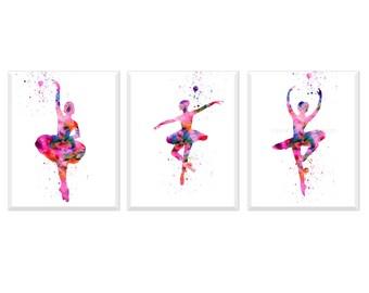 Ballerina Print, Ballerina Wall Art, Girls room Decor Modern Watercolor Ballerina Art Print  Abstract Ballet Art