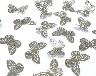 20pcs Silver Filigree Metal Butterfly Embellishments, Wedding Craft (BF3 - 30x20mm)