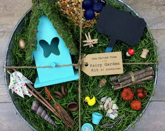 Fairy garden kit with container, DIY, Turquoise, Yellow, Pink or Purple Butterfly fairy house, galvanized washtub