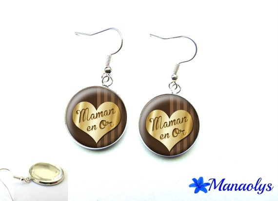 These earrings a MOM in gold, 2598 glass cabochons