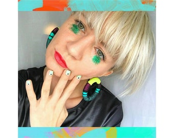 Stud Hoop Earrings | Fabric Jewellery| Thread-Wrapped Jewelry | Statement Jewelery | African Print | Colourblock| Funky Jewelry