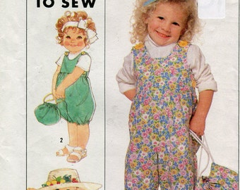 1980s Simplicity 9275 Toddler Overall Sewing Pattern  Size 1/2 to 3 UNCUT