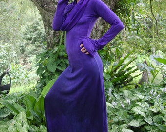 Size M/L Amethyst Bamboo Lycra Fleece Cowl Neck Maxi Dress