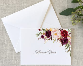 Folded Autumn Floral Thank You Notes, Watercolor Note Cards, Floral Thank You Notes, Red and Purple Flowers Stationery - SET OF 10 Cards