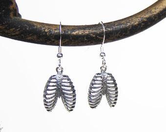 Sterling Silver Anatomy Earrings - Rib Cage - Anatomical Bones Earrings