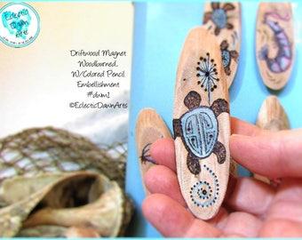 Tribal Turtle Driftwood Magnet #DWM1