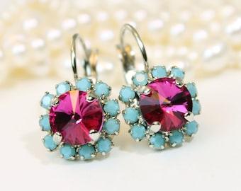 Fuchsia Turquoise Earrings,Aqua Pink Earrings Pink Turquoise earrings Crystal Halo Drop Earrings Swarovski rhinestones ,Silver,Fuchsia,SE96