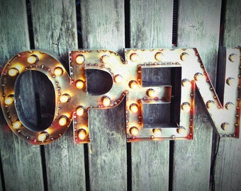 """12""""x30"""" Steel Marquee OPEN SIGN, Non-Rusty, NO Back"""