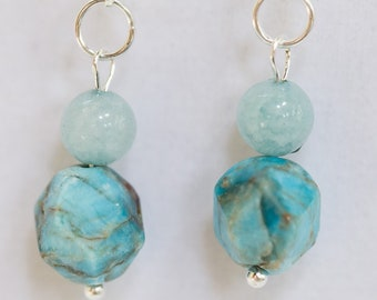 Earrings, Apatite and Aquamarine