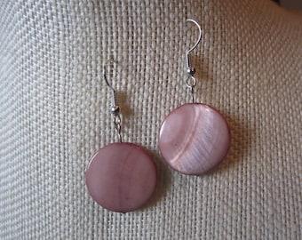 Shell Dangle Earrings; Peach-Bronze Circles