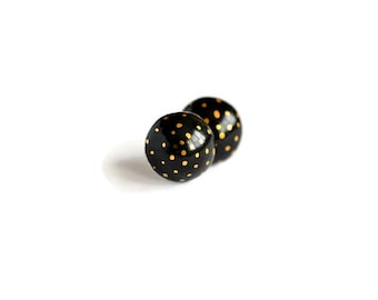 Gold polka dots - black or ivory ceramic post earrings - round studs - ceramic jewelry - black and gold