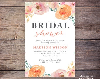 Peach Floral Bridal Shower Invitation, Watercolor , Flowers, Engagement Shower Invite, Wedding Shower, DiY Printable Digital File – Madison