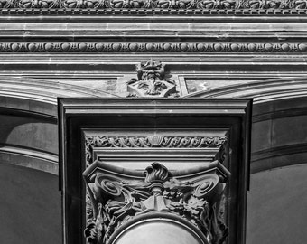 Fine Art Photography, Italy Photography, Architecture Art, Florence Italy, Tuscan Décor, Wall Art, 8 x 12 Print, Black and White, Biblioteca