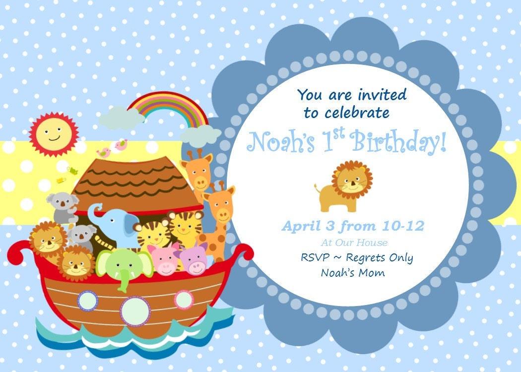 Noah\'s Ark Invitation Noah\'s Ark Birthday Invitation