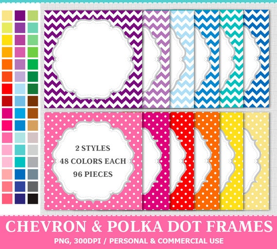 96 Polka Dot & Chevron Digital Rainbow Frames Labels Clip Art , from ...