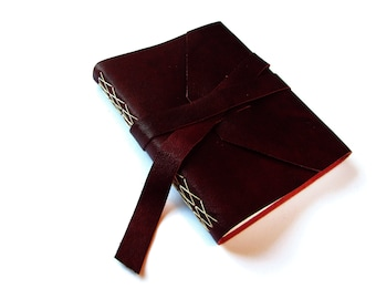 Leather Journal with Lined Pages and Double Wrap Tie in Wine