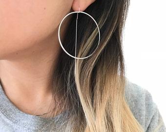 Circle Earrings   simple drop earrings, simple silver circle earrings, simple gold earrings, Minimalist Earrings, gold round earrings, hoop