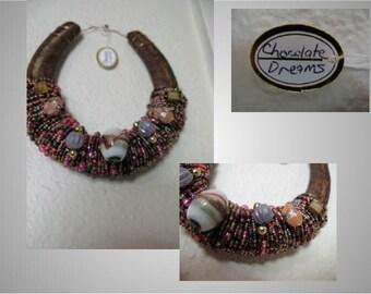 Beaded Horseshoe Art-(Chocolate Dreams) - Free Shipping in US