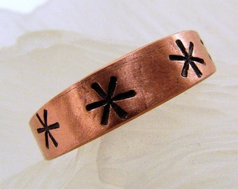 Copper Hand Stamped Ring - Any size