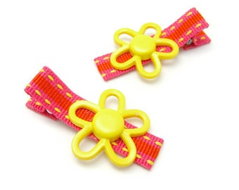 Spring Flower Hair Clips, Striped Flower Clips, Yellow, Neon Pink, Preppy Stripes, Kawaii Spring