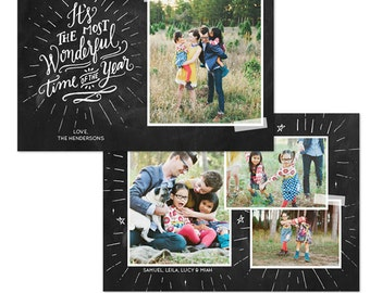 INSTANT DOWNLOAD - Christmas Card Photoshop template - E1080