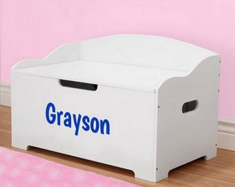 Personalized Dibsies Modern Expressions Signature Series Toy Box, White - Boys