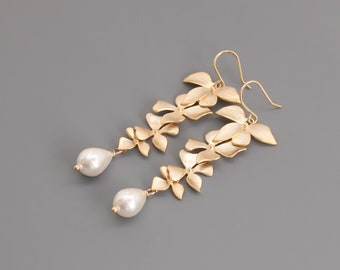 Gold Orchid flower Earrings. Orchid Drop Pearl Earrings. Bridal Jewelry. Bridesmaid Earrings.Everyday Earrings.Gift for Her