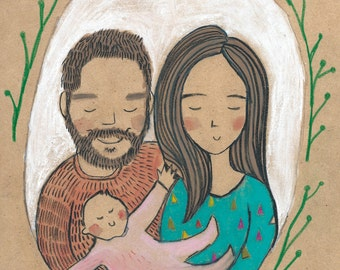 Custom A4 Couple or Family Portrait