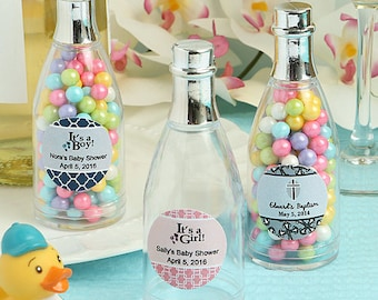 24 Personalized Baby Shower Clear Plastic Champagne Bottle Box - Set of 24