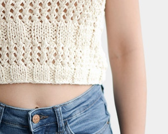 Sleeveless Knit Top, Boho Knit Top, Cotton Crop Top, Summer Cropped Top, Loose Knit Top, Spring Knit Blouse, Ecru Crop Top, Made to Measure