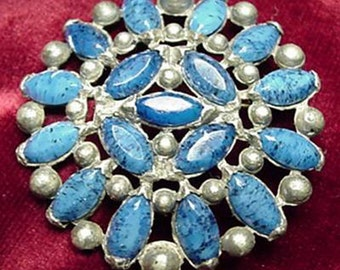 Speckled Blue Glass Round Brooch